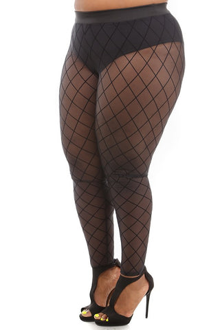 Plus Size Flirty See Through Fishnet Mesh Leggings