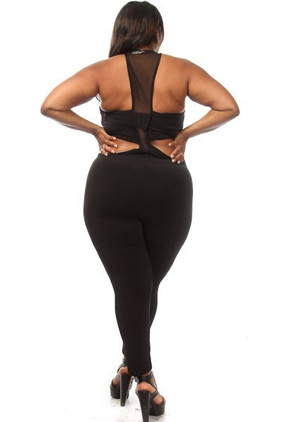 Sleeveless Mesh Plus Size Bodysuit with Bottoms
