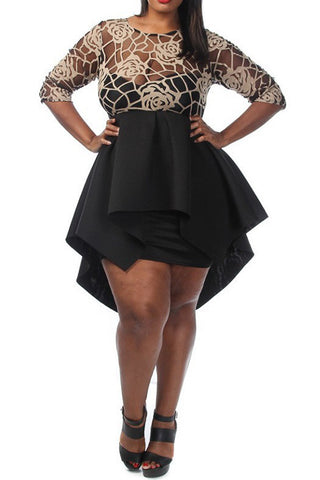 Plus Size Designer Gold See Through Floral Peplum Dress