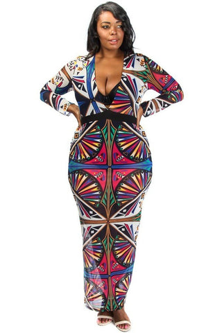Plus Size Colorful Print Mesh Maxi Dress