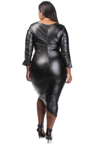 SLAY Asymmetrical Leather Plus Size Dress