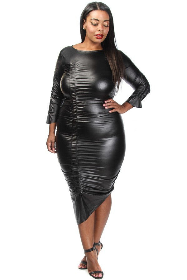 SLAY Asymmetrical Leather Plus Size Dress – Plussizefix