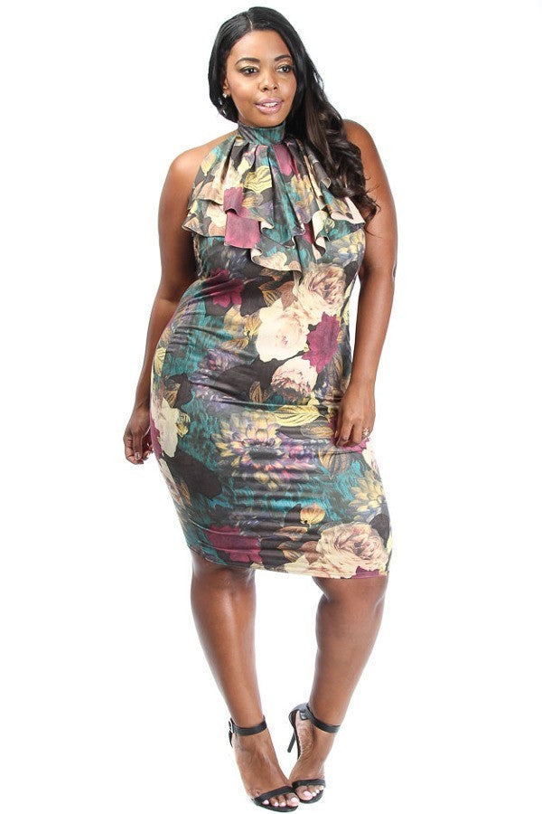 Floral Ruffled Neck Plus Size Dress