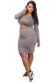 Crossed Waist Plus Size Two Piece Skirt Set