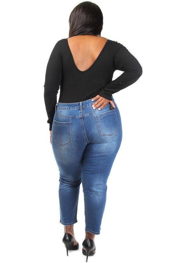 Everyday Ripped Denim Capri Plus Size Jeans