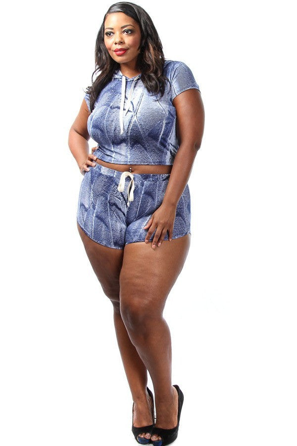 Cute Denim Hoodie Plus Size Short Set
