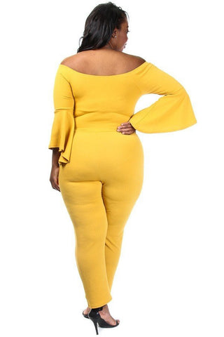 Belted Wide Neck Flare Sleeve Plus Size Jumpsuit