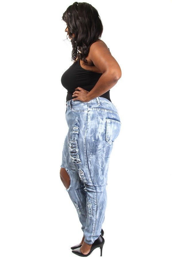 Hottie Acid Wash Distressed Plus Size Denim Jeans