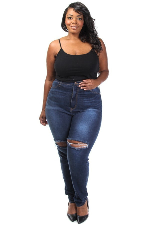 Hollywood Ripped Skinny Plus Size Denim Jeans