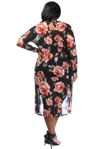 Sexy Floral High Slit Long Sleeve Plus Size Dress