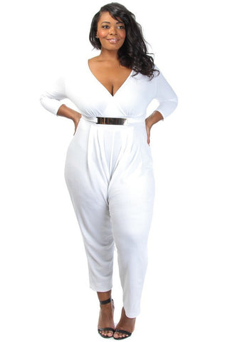 Gold Belted V Neck Wide Leg Plus Size Jumpsuit