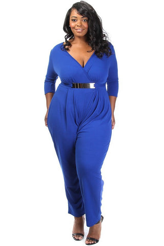Gold Belted V Neck Wide Leg Plus Size Jumpsuit [SALE]
