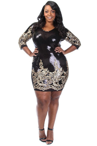 Plus Size Baroque V-neck Sequin Mini Dress - Black