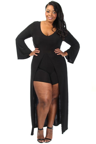 Solid Overlay Plus Size Romper Long Sleeve
