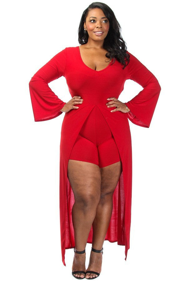 dfdec9a73 Solid Overlay Plus Size Romper Long Sleeve – Plussizefix