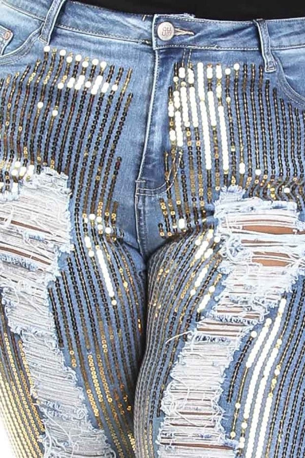 Bedazzled Sparkling Distressed Denim Jeans