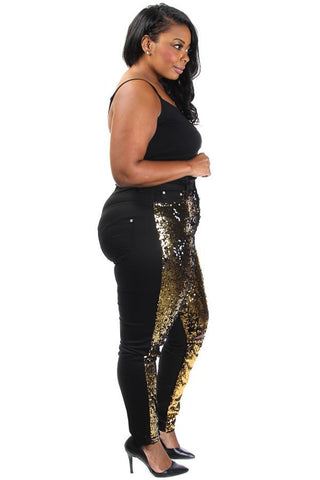 Plus Size Bedazzled Sparkling Knee Slit Denim Gold Jeans