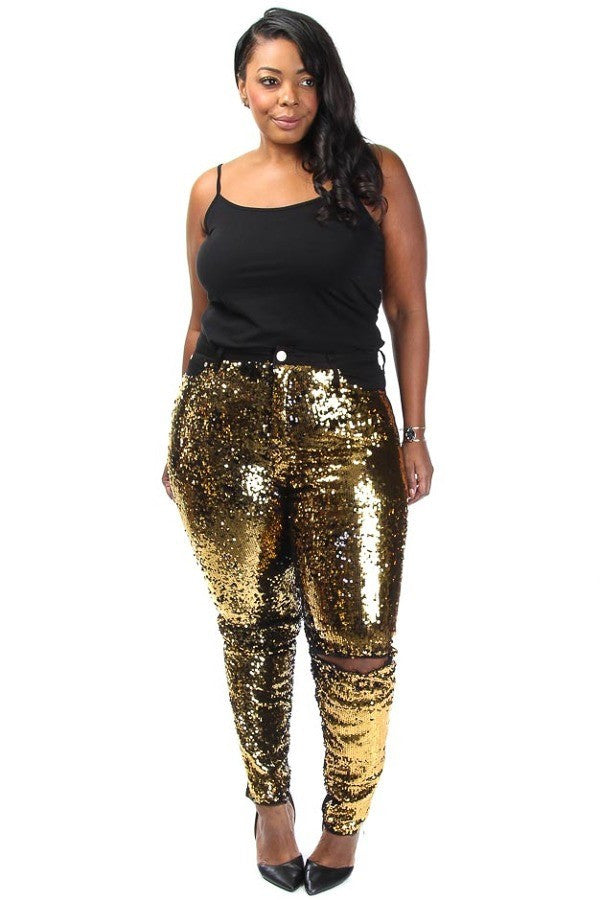 Bedazzled Sparkling Knee Slit Denim Gold Jeans