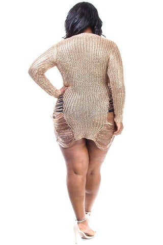 Plus Size Party Vibes Metallic Sliced Mini Dress