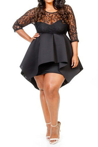 Plus Size Gothic Design & Ponti Skater Mini Dress - Black