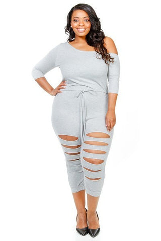 Plus Size Wide Neck Shoulder Sliced Yoga Jumpsuit