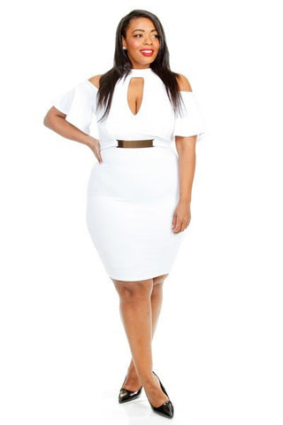 Plus Size Textured Off Shoulder Keyhole Buckled Dress