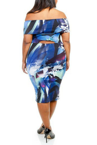 Plus Size Off Shoulder Abstract Tube Dress - Blue
