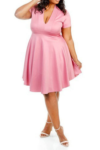 Plus Size Sexy In V Cut Flowy Skater Dress