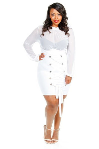 Plus Size Sheer & Tie Up Tube Dress
