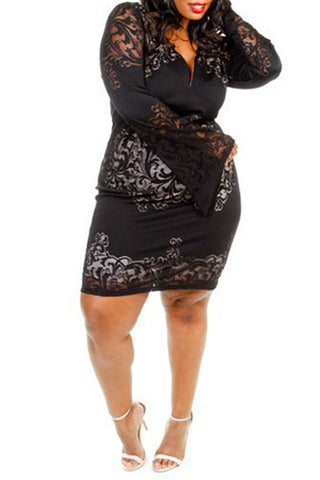 Plus Size Lacey Layered Fitted Dress - Black