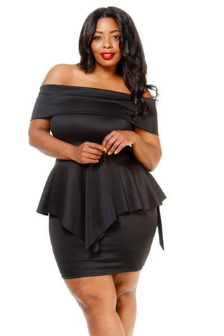 Plus Size Off Shoulder Peplum Asymmetrical Dress