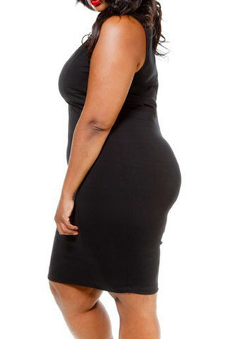 Plus Size Sweetheart Cutout Tube Dress - Black