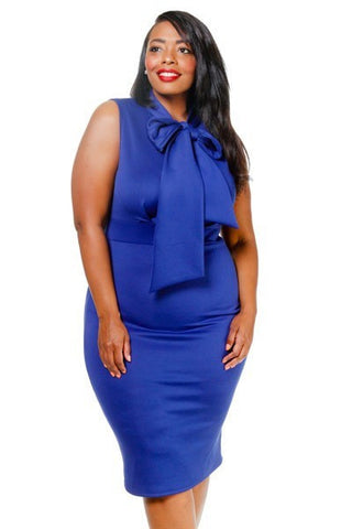 Plus Size Sleeveless Midi Bow Necktie Dress