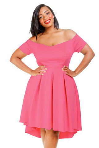Plus Size Off Shoulder Sweetheart Neckline Dress