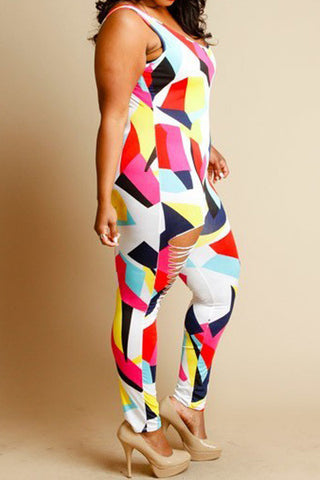 Plus Size Sliced Sexy Colorblock Jumpsuit