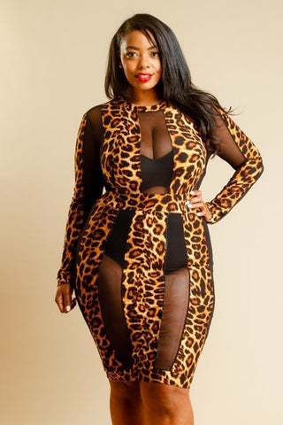 Plus Size Wild About You Mesh Tube Dress