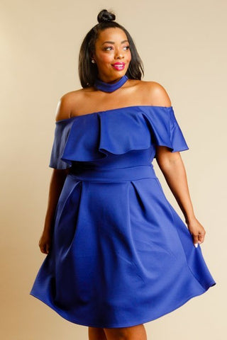 Plus Size Dashing Ruffled Choker Neckline Dress [SALE]