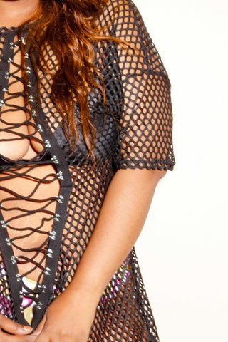 Plus Size SLAY Tie Up See Through Net Dress