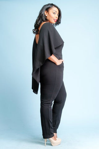 Plus Size Take the Show Cape Solid Woven Jumpsuit