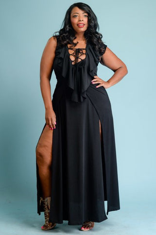 Plus Size Sexy Ruffled Front Maxi Dress