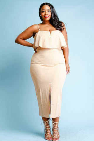 Plus Size Sweetheart Slit Front Strapless Dress