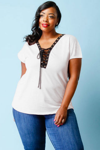 Plus Size Cutie Lace Up V-Neck Top [SALE]