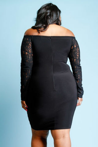 Plus Size See Through Off Shoulder Hot Mesh Tube Dress