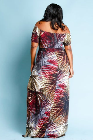 Plus Size Off Shoulder Jungle Palms Maxi Slits Dress