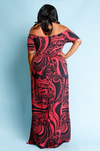 Plus Size Off Shoulder Mixed Bohemian Maxi Dress