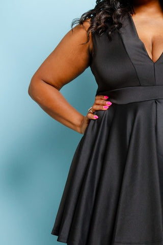 Plus Size Adorable Deep V Neck Flare Dress