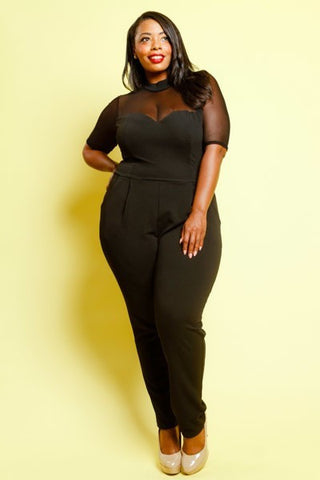 Plus Size Sexy See Through Mesh Panel Jumpsuit