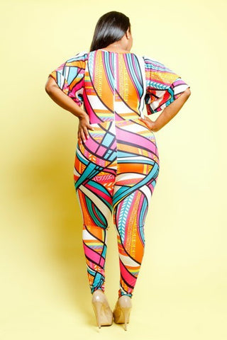 Plus Size Colorful Girl Flutter Sleeves Jumpsuit