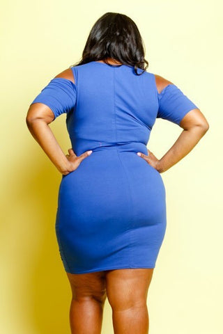 Plus Size Summer Vibes Sliced Cut Out Solid Dress