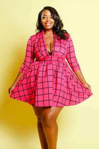 Plus Size Mod Deep V Grid Sexy Skater Dress